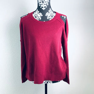 Lucky Brand sz Large red cold shoulder sweater